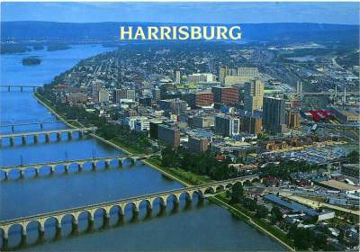 Harrisburg, Pennsylvania's State Capitol on the Eastern Shore of the Susquehanna River